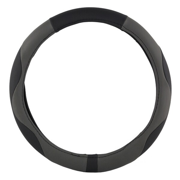 KM World Black and Gray 13.5-14.25 Inch PU Leather Design Steering Wheel Cover With Precise Hand Placements, Fits Honda S2000