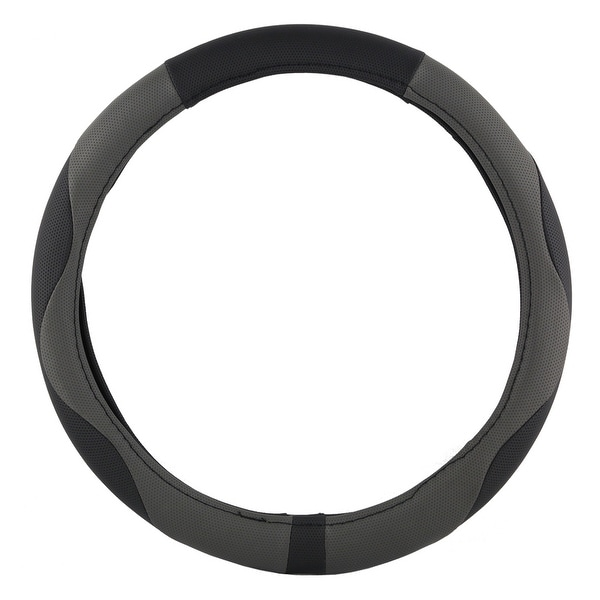 KM World Black and Gray 13.5-14.25 Inch PU Leather Design Steering Wheel Cover With Precise Hand Placements, Fits Toyota Corolla