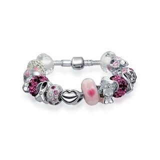 Bling Jewelry Enamel Breast Cancer Awareness Charm Bracelet 925 Silver