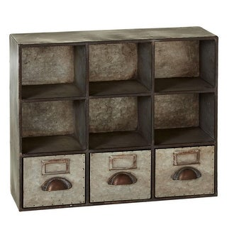 22 Gray and Brown Industrial Style Galvanized Cube Unit Book Case with Drawers