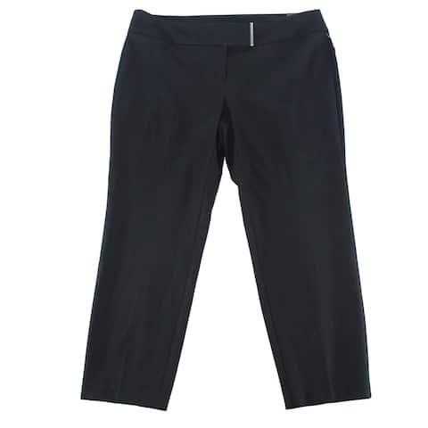 Alfani Womens Dress Pants Black Size 20W Plus Tab-Front Slim Stretch