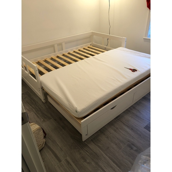 Shop Melody Twin To King Trundle Daybed With Storage Drawers White
