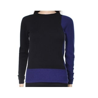 Escada NEW Navy Blue Black Womens Size XS Pullover Colorblock Sweater