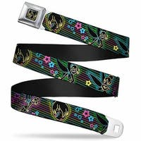 Electric Tinkerbell Face Full Color Black Multi Neon Electric Tinker Bell Seatbelt Belt