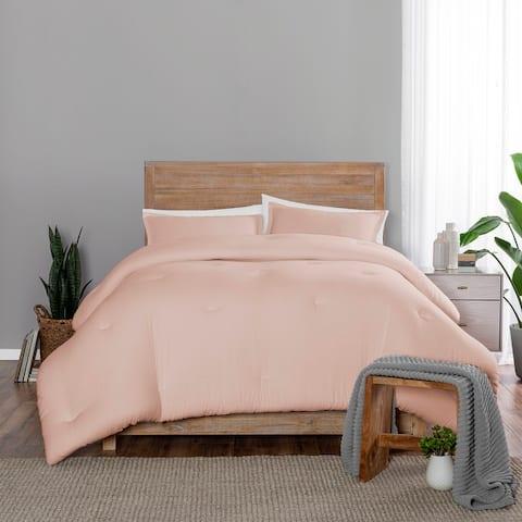 Porch & Den Omara Solid Color Cotton 3-piece Comforter Set