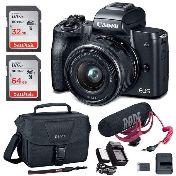 shop canon eos m50 15 45mm mirrorless camera video creator kit with rh overstock com