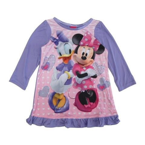 Disney Little Girls Purple Minnie Daisy Long Sleeve Ruffle Trim Nightgown