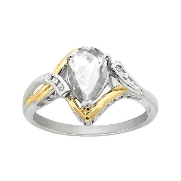 1 1/2 ct White Topaz Ring with Diamonds in Sterling Silver and 10K Gold