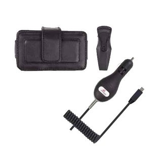 Wireless Solution Horizontal Leather Pouch with Ratcheting Belt Clip and Car Cha