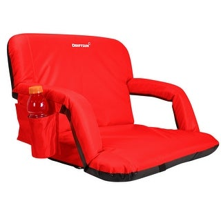 Driftsun Extra Wide Deluxe Reclining Stadium Seat, Bleacher Chair with Back Support, Folding Sport Chair, Expanded Width, Red