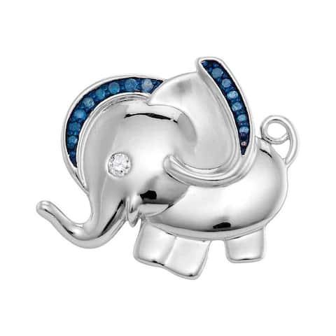 Sterling Silver 1/10 Carat Blue Color Enhanced Diamond Elephant Charm Pendant