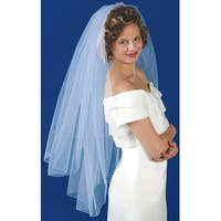 """Double Layer Bridal Veil 31"""" & 38""""X72""""-Rolled Edge - White"""