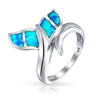 Bling Jewelry Synthetic Blue Opal Inlay Whale Tail Nautical Animal Ring 925 Silver