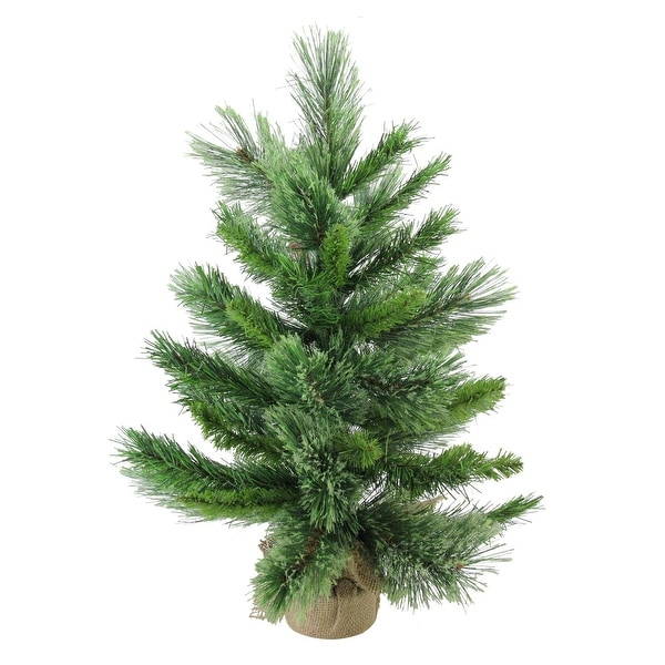 """24"""" Mixed Cashmere Pine Artificial Christmas Tree in Burlap Base - Unlit - brown"""