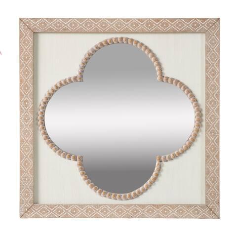 Whitewash Natural Tan 20-inch Quatrefoil Wall Mirror
