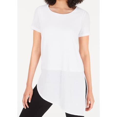 Alfani Womens Blouse White Size Small S Asymmetrical Round-Neckline