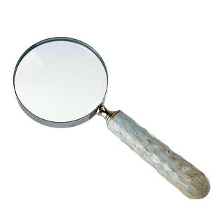 """Set of 2 Light Blue Ceramic Traditional Embossed Handle Magnifying Glass 10"""" - N/A"""
