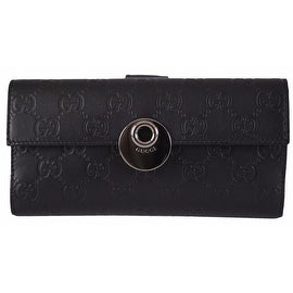 New Gucci Women's 231835 BLACK Leather GG Guccissima Continental W/Coin Wallet