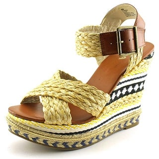 Mia Fareena Women Open Toe Canvas Wedge Sandal