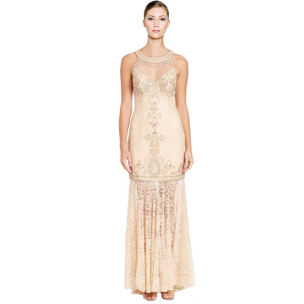 Sue Wong Embellished Lace Illusion Yoke Halter Evening Gown Dress ...