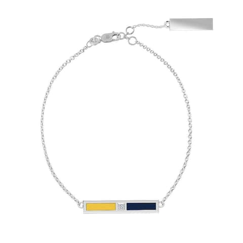 California Berkeley -University Of Sterling Silver Diamond Bar Chain Bracelet In Blue & Yellow