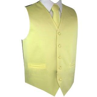 Men's Formal Tuxedo Vest, Tie & Pocket Square Set-Canary-M