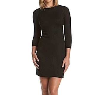 Calvin Klein Goldtone Chain Neck Sweater Dress Black 3X