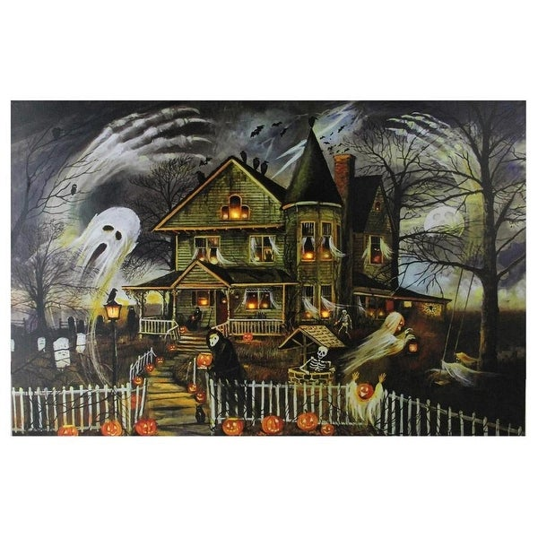 Shop Small Led Lighted Creepy Haunted House Halloween Canvas Wall
