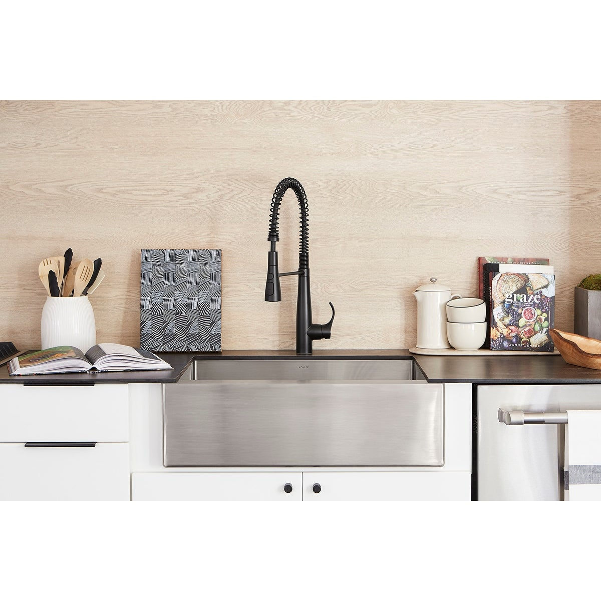 Kohler K-22033 Simplice Semi-professional Kitchen Sink Faucet with  3-function Spray Head