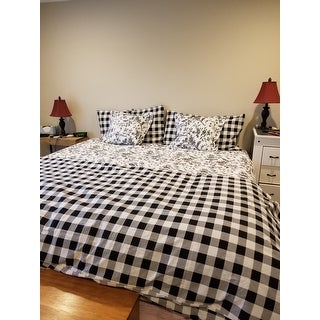 Eddie Bauer Mountain Plaid Black And Off White Duvet Cover