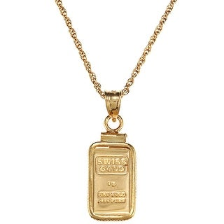 Link to American Coin Treasures 1-gram Gold Ingot Pendant Necklace - Yellow Similar Items in Necklaces