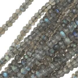 Labradorite Gemstone Beads, Faceted Rondelles 3.5-4mm, 13.5 In Strand, Grey Blue