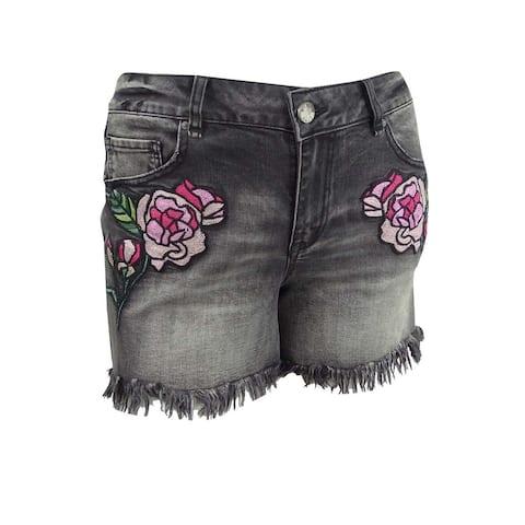 William Rast Juniors' Plus Size Embroidered Denim Shorts - Charcoal