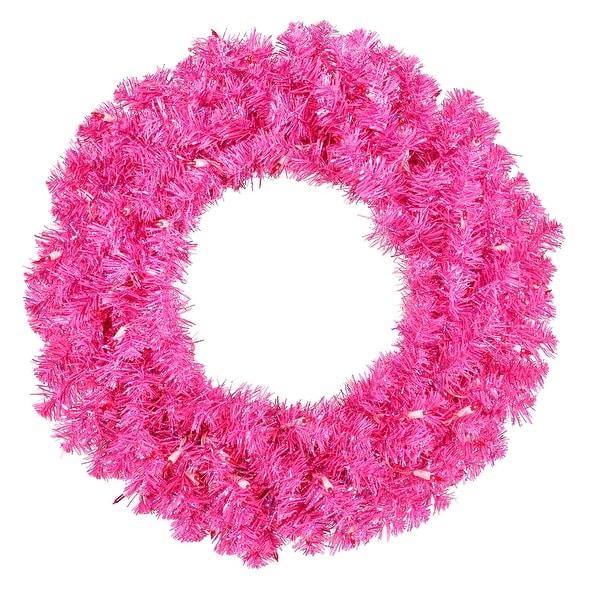 "36"" Hot Pink Wreath Dural LED 100Pnk"