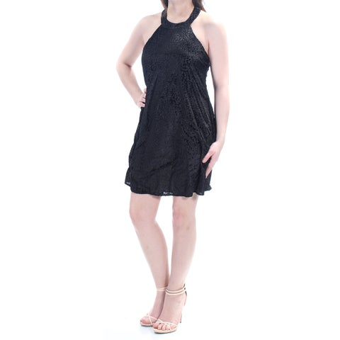 Womens Black Sleeveless Mini Fit + Flare Cocktail Dress Size: 2XS