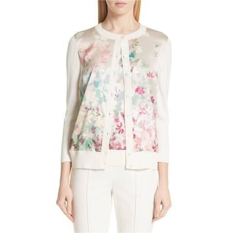 St. John Womens Floral Cardigan Sweater, pink, X-Large