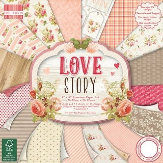 "First Edition Premium Paper Pad 8""X8"" 48/Pkg-Love Story, 16 Designs/3 Each"
