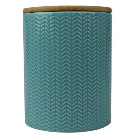 Wave Medium Ceramic Canister, Turquoise