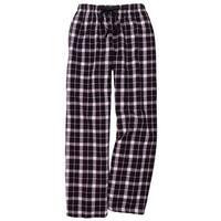 Women's Flannel Lounge Pants: Drawstring/Elastic Waist Black/Pink Plaid