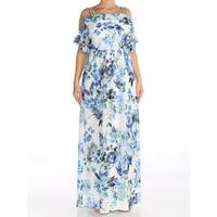 RALPH LAUREN Womens White Cold Shoulder Floral Georgette Formal Dress  Size: 12