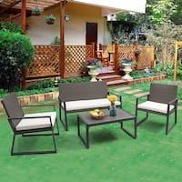 Costway 4PCS Rattan Patio Furniture Set Wicker Cushioned Seat Sofa Garden Lawn Sofa - Gray