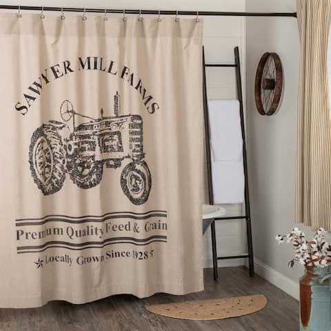 Sawyer Mill Charcoal Tractor Shower Curtain 72x72