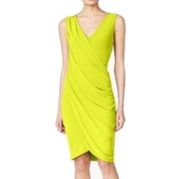 Rachel Rachel Roy NEW Yellow Women's XL V-Neck Ruched Sheath Dress