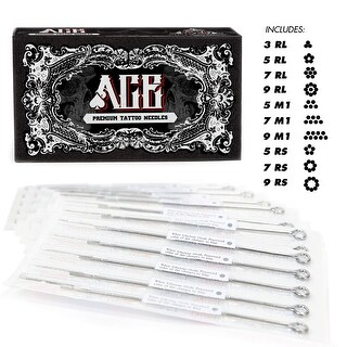 ACE Needles 50 Mixed Assorted Tattoo Needles 10 Sizes - Round Liner Shader Magnum