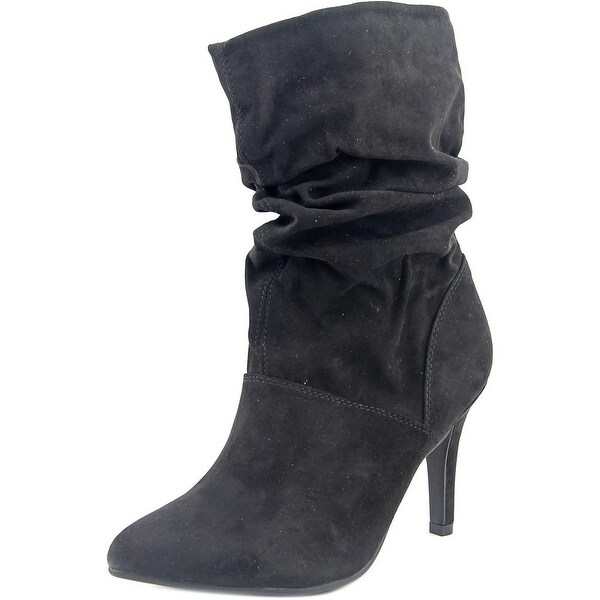 Style & Co Adelay Women Pointed Toe Canvas Black Mid Calf Boot