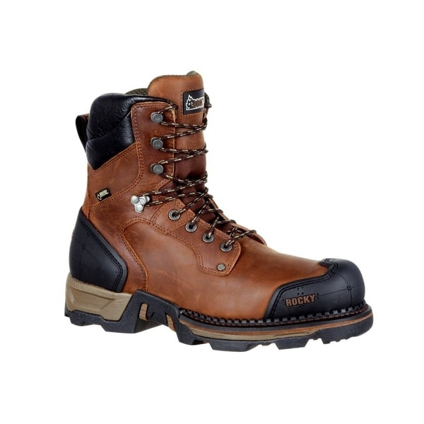 Rocky Outdoor Boots Mens Maxx Rubber Lace Up Dark Brown
