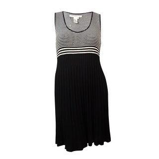 Studio M Women's Windowpane Knit Pleated Skirt Dress - xL