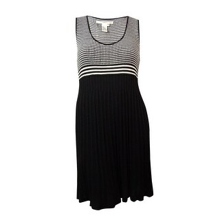 Studio M Women's Windowpane Knit Pleated Skirt Dress - black/ecru - xL