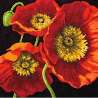 """Red Poppy Trio Needlepoint Kit-14""""X14"""" Stitched In Wool & Thread"""