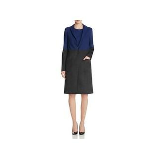 Elie Tahari Womens Karen Long Coat Colorblock Textured